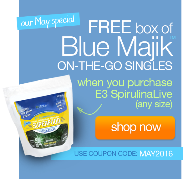 FREE box of Blue Majik ON-THE-GO SINGLES when you purchase E3 SpirulinaLive