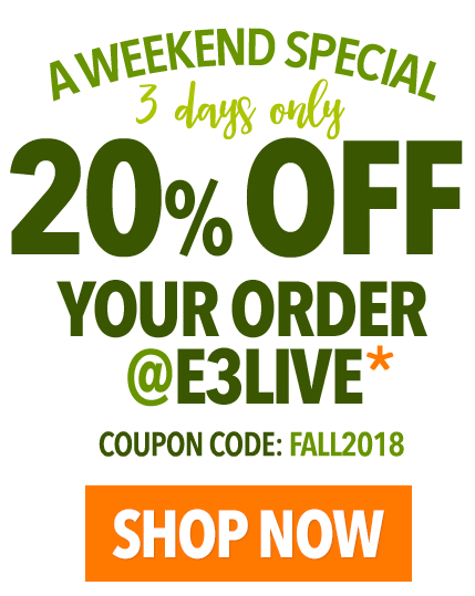 20% OFF at E3LIVE for a very limited time