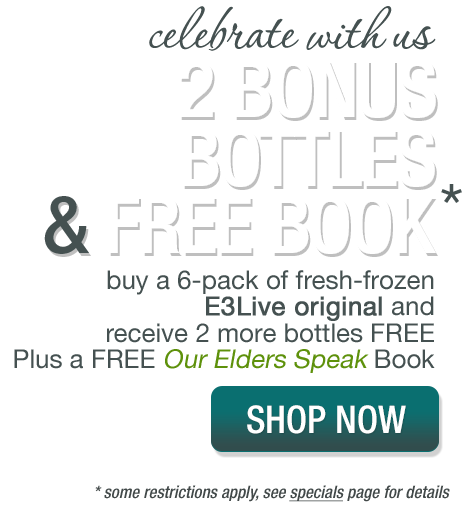 AMAZING 2 bonus bottles and FREE book offer when you buy E3Live Original 6-pack