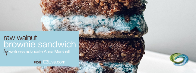 RAW WALNUT BROWNIE SANDWICH WITH COCONUT-MACADAMIA FROSTING / by Anna Marshall
